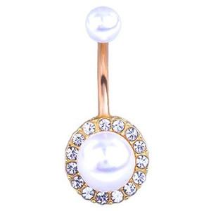 Botão de Bell Rings Anti Allergy Pérola Navel piercing no umbigo botão especial para as mulheres zircão umbigo unha transfronteiriça