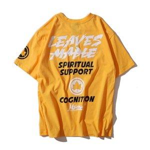 T-shirt Designer Homme Casual Mens lâche T-shirts Lettres Feuille d'érable Imprimer la mode Hip Hop Hommes ras du cou T-shirt Taille M-2XL