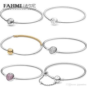 DoniA 100% 925 Sterling Silver MOMENTS Three-Link Shine DIY Women's Charm Sterling Silver Basic Bracelet Free Shipping Wholesale
