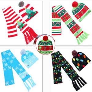 LED Christmas Knitted Hat Scarf Set Luz intermitente Beanie Scarves Kit Cap para Snowflake Elk Reindeer Xmas Tree Party Props Regalos XD21179