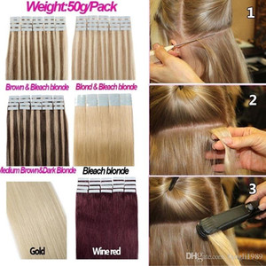 20 pièces 13 couleurs blonde bande dans les extensions de cheveux humains Haute qualité de vrais cheveux humains Pas de cheveux synthétiques