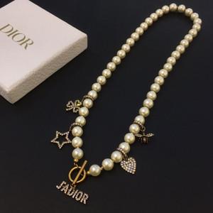 C D tasarımcı kolye İNCİ zincir tasarımcı takı güzellik resmi mektup lüks tasarımcı takı kadınlar kolye boncuklu