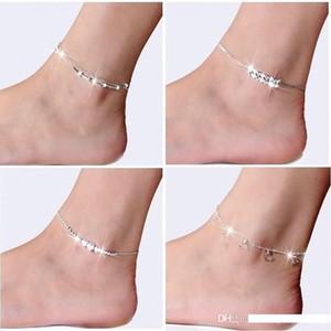 Nueva plata de la astilla de 925 pulsera en el tobillo del pie para la joyería mujeres con incrustaciones de pulsera para el tobillo circón en una pierna de Personalidad Regalos