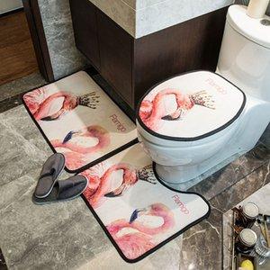 간결한 스타일 플라밍고 3- 클래식 절묘한 홈 닫기 인쇄 화장실 시트 의자 세트 매트 바닥 조각 커버 코트 ijdsr