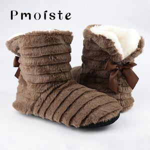 Borboleta Nó Fur Chinelos Mulheres Winter Plush Quente lisa com suave Início Shoes para a menina Sólidos Chinelos interior 6