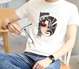 2019 Summer Men's New Peking Opera Mask Print Short Sleeve Korean Fashion Trend Personality Casual Casual Top T-Shirt
