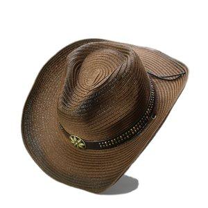 도매 빈티지 턱 스트랩 꽃 금속 밴드 여성을위한 서양 카우보이 파나마 재즈 여름 밀짚 태양 모자 / 남자 모자