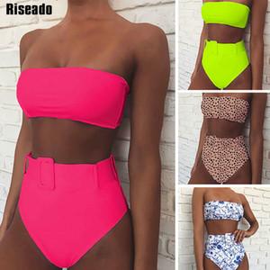 Riseado 2020 Sexy bikini a fascia Costume da bagno delle donne del costume da bagno a vita alta Push Up Bikini brasiliano Leopard con cintura Beach Wear