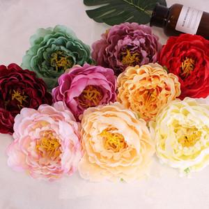 DIY 14CM künstliche Blumen Kopf Fashion Silk Pfingstrose Blumen-Kopf-Hochzeitsfest-Simulations-Blumen-Ausgangsdekor TTA1809 Supplies