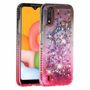 Brilhando diamante líquido Glitter capa para Samsung Galaxy A01 dinâmico Quicksand Capa Para Samsung S20 Ultra SM A21 A51 A71 A81 A91