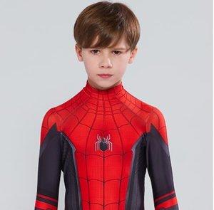 as Kids Spider Man Far From Home Peter Parker Cosplay Costume Zentai Spiderman Superhero Bodysuit Suit Jumpsuits Halloween Costume asaa