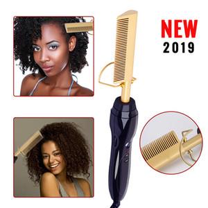 NEW elektrische Lockenwickler Kamm Nass- und Trocken Verwenden Haar Curling-Eisen-Strecker-Kamm-Kupfer 110-240V Hair Styling Werkzeuge