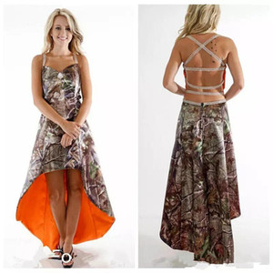 Vintage Camouflage High Low Bridesmaid Dresses 2019 Halter Criss Cross Back Western Boot Girl Beach Country Junior Wedding Party Dress