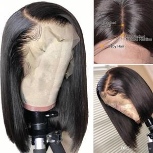Llena del cordón del pelo humano pelucas de Bob falso cuero cabelludo 13x6 frontal recto Remy pelo humano brasileño lacefront Corto Bob peluca para mujeres Negro
