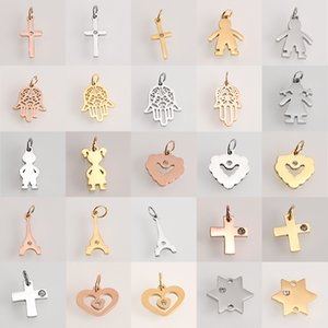 Charms Fashion Charms Stainless Steel Cross Heart Geometric Gold steel Pendants Jewelry Making DIY Handmade Craft Wholesale Accessory
