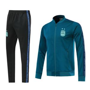 2020 New Argentina treino de futebol com zíper kit jaqueta de 2020 calças MESSI DYBALA ICARDI treino de futebol argentina terno kit nova temporada