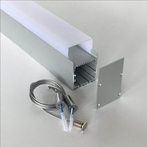 Free Shipping Aluminium Housing LED Linear Batten Office Light housing with milky cover and end caps and suspended cable
