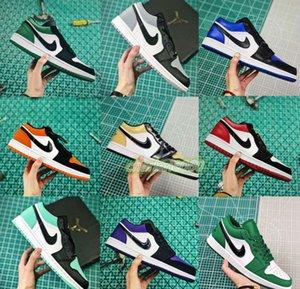 Low Nike air jordan 1 1s Jumpman UNC Laser Blue court purple Mens Basketball Shoes pine green Gold royal black toe Nakeskin airJordan Designer Shoes