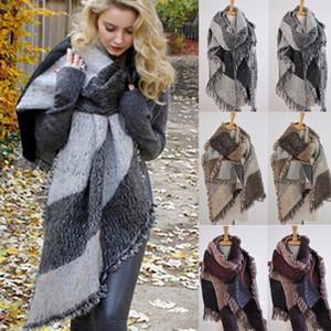 2019 Fashion Large Scarves Women Long Cashmere Winter Wool Blend Soft Warm Plaid Scarf Wrap Shawl Plaid Scarf