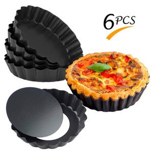 6 pc / insieme non-Stick Tart Quiche Flan Pan Stampi Pie Pizza torta Mold rimovibile allentato inferiore scanalata Heavy Duty Pizza Pan Bakeware T200111