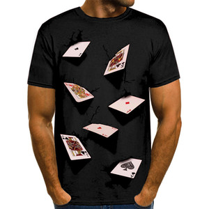20ss 3D Poker Designer Mens T-shirts Summer Fashion Elegante Casual Top Manga Curta Tees