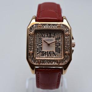 Rhinestone 35mm banda de cuero de cuarzo cuadrado romano mujeres de lujo digitales dropshipping reloj de diseño para mujer del oro relojes de pulsera regalos mujeres