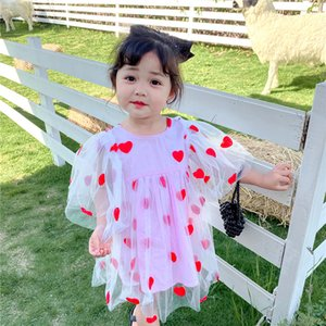 2020 summer Korean style love heart shape kid girl mesh tulle princess party dress baby toddler clothes children vestidos