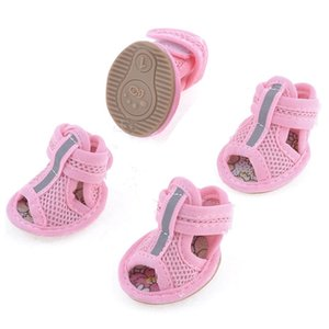 2 Pairs Rubber Sole Pink Mesh Sandals Yorkie Chihuaha Dog Shoes Size 1 Dog Apparel