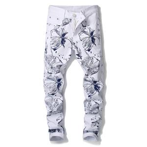 Pantaloni Punk Skinny Stretch denim 2019 del modello 3D Graffiti floreale dei jeans di stampa degli uomini di Hip Hop Maschile Streetwear Jeans