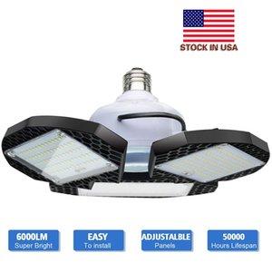 LED Garage Lichter 60W 80W E26 / E27 6000Lm deformierbare Deckenleuchten für Full Area LED-Lampen für Werkstatt Scheune Lager