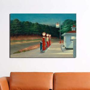 Edward Hopper Tankstelle Wand-Kunst-Leinwand-Malerei-Plakat-Druck Moderne Malerei Wandbilder für Wohnzimmer Hauptdekoration