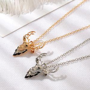 Collar del suéter de la Navidad Collares por un regalo de Navidad de la joyería femenina de plateado niños ciervos collar de plata