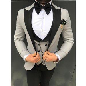 Handsome One Button Groomsmen Peak Lapel Groom Tuxedos Men Suits Wedding Prom Dinner Best Man Blazer(Jacket+Pants+Tie+Vest) W130