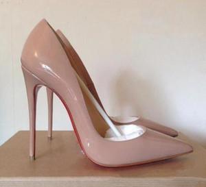 Klasik Marka Kırmızı Alt Yüksek Topuklar Platformu Ayakkabı Çıplak / Siyah Patent Deri burnu Kadınlar Elbise Düğün Sandalet Ayakkabı boyutu 35-42 pompaları