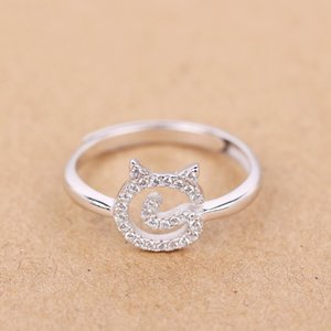 Lovely Cat 925 Sterling Silver Inlay Zirconia Stacking Ring JZR320