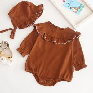 Melario Baby-Spielanzug mit Hut Frühlings-neugeborenes Kind-Langarm-Overall für Baby Strampler 2ST Kinderkleidung