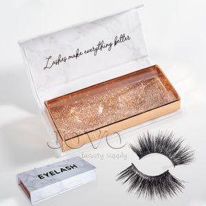 Etiqueta Vmae Mink Pestañas real 22-25MM 5D largo mullido 3D Mink Pestañas Mink privada latigazo del ojo con el patrón de mármol de la pestaña Caja de empaquetado de regalos