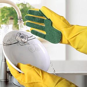1 paire de gants de cuisine Gant de nettoyage lave-vaisselle réutilisable Tampon à récurer éponge doigts de gants en latex 25
