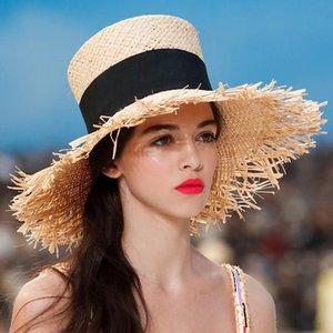 kadın yaz Hasır şapka Fedoras sombrero mujer Panama yüksek silindir şapka plaj vintage silindir moda kenarlı vizör ps0092