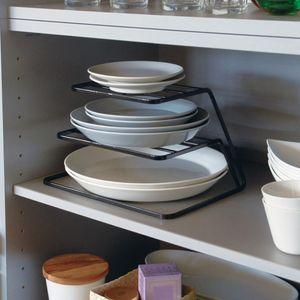 2 계층 접시 랙 스테인레스 스틸 주방 접시 드레 이너 컵과 주최자 (블랙) 요리