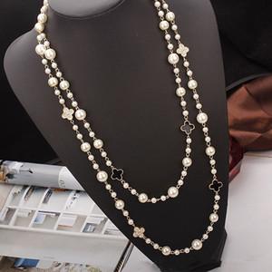 Regalo de Navidad las mujeres de lujo doble perla collar de la letra elegante suéter de la cadena de marca Diseño de joyería Collares