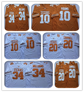 Billig NCAA Vintage Texas Longhorns College-Jerseys Fußball 10 Vince Young 34 Ricky Williams 20 Earl Campbell Gelb Weiß Nähed Jersey
