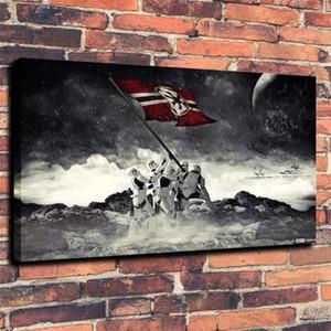 Ev Dekorasyonu 16x24 Boyama (Çerçevesiz / Çerçeveli) Savaşları Stormtrooper Bayrak, 1 adet Kanvas Duvar Sanatı Yağı.