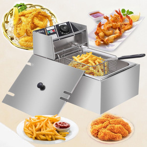 Yeni 6L Paslanmaz Çelik Tek Elektrikli Fritöz Yağ Tankı Patates Kızartması US Ev İşyeri ABD Tak Nakliye için Tavuk Chip Kızarmış