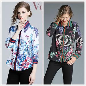 Высокое качество Женская мода весна осень печати рубашки Красивые элегантные дамы Офис Sexy Тонкий кнопки на передней печати Воротник рубашки Блузы