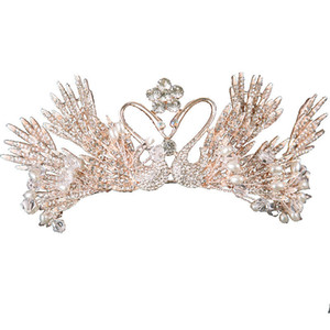 Sposa Crown Headdress 2020 Princess Swan Hair Ornament Cerchio per capelli europeo e americano atmosferico dorato super immortale