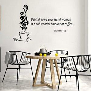 커피 벽 스티커 홈 장식 비닐 아트 벽화의 모든 성공적인 여성이다 상당한 양의 뒤에 영감 견적