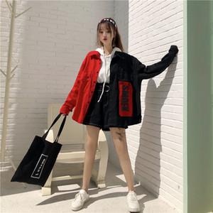 2020 Frühling Harajuku Hit Farbe Tooling Jeansjacke Frauen-Patch-Buchstabe-Druck-Patchwork-Jeans-Jacke lose Street Overcoat