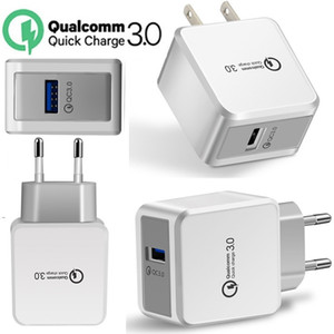 White QC3.0 Eu US AC home travel Wall charger Auto Power Adapter For Samsung s8 s9 s10 Iphone 7 8 10 Pro Android phone pc