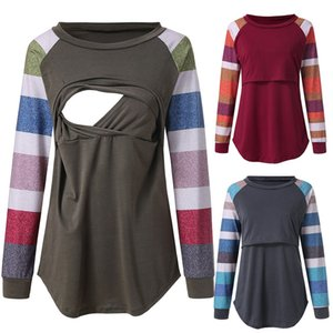 Maternity Breastfeeding Digital Tops Women Clothes Round Neck Long Sleeve Breastfeeding Month Suit Solid Printing Female Tees 43